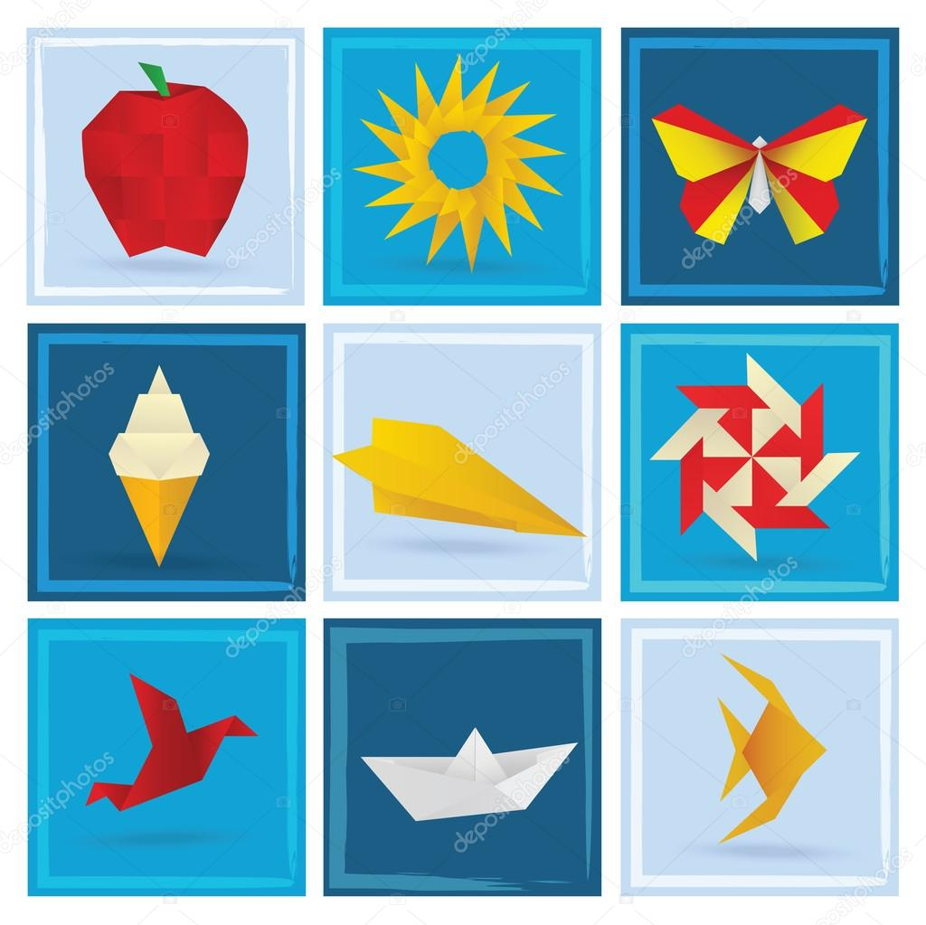 Origami Summer Symbols Blue Background Stock Vector