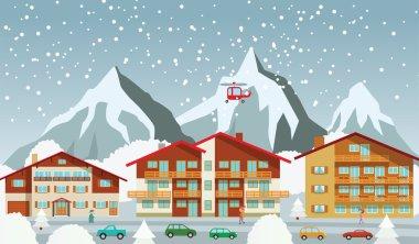 The tourist center in the Alps (winter)