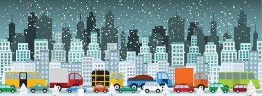 Traffic jam in the city (Winter)