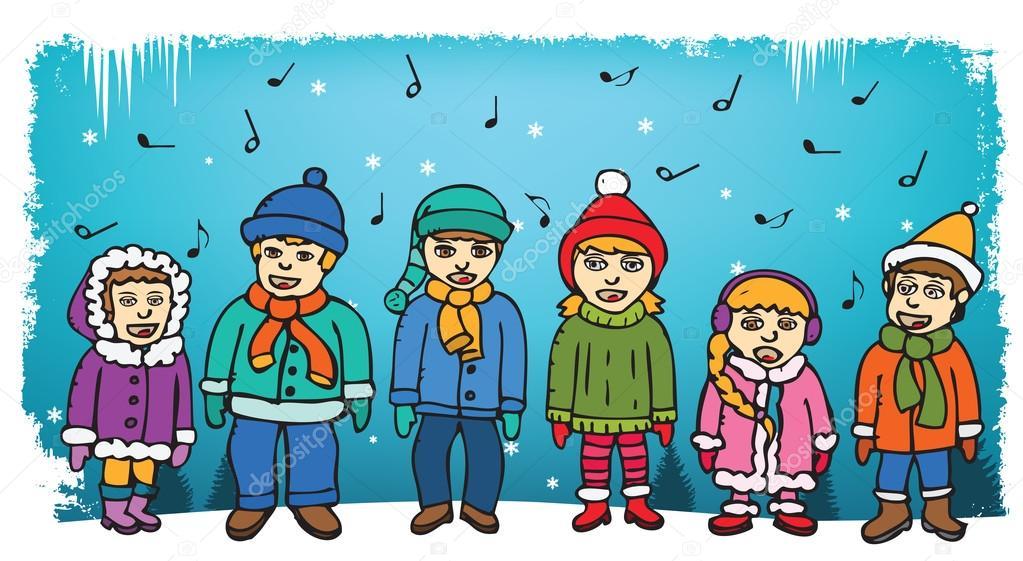 Děti zpívají koledy — Stockový vektor