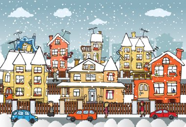 Vector illustration of hand drawn small city (cars, people) clip art vector