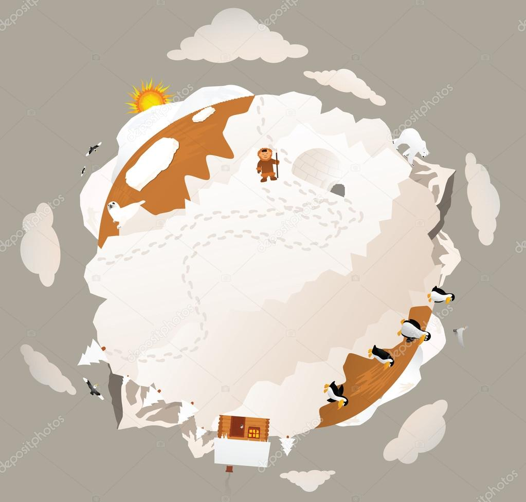 Around the frozen planet earth (sepia tone)