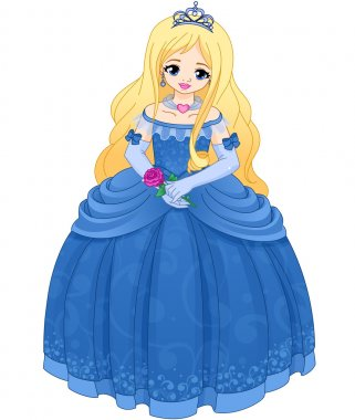 Princess with blonde hair in a blue long dress.