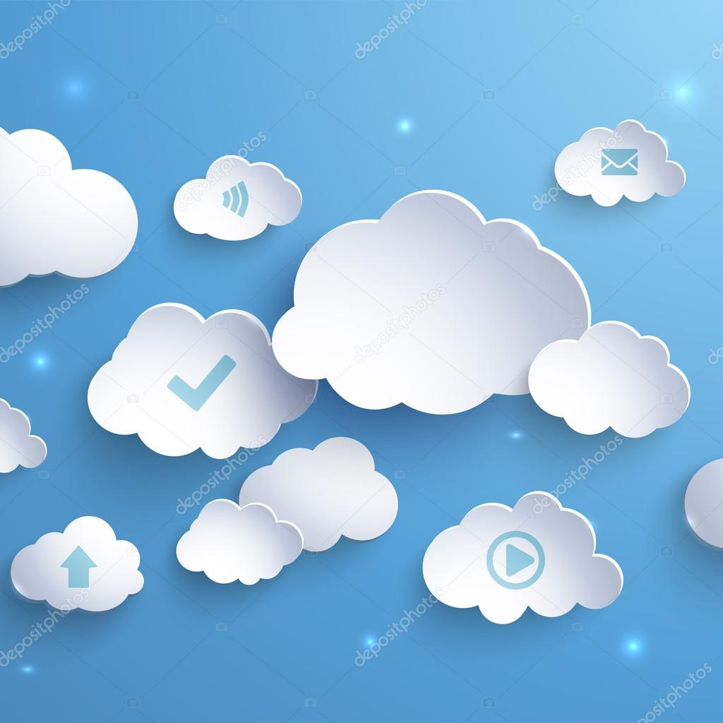 White paper clouds on a blue background.