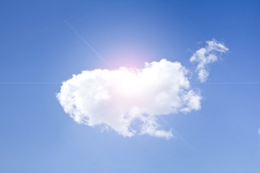Wonderful white Clouds and Sunlight on the blue sky, background.