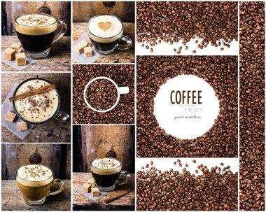 Espresso, cappuccino, mocha and Coffee beans