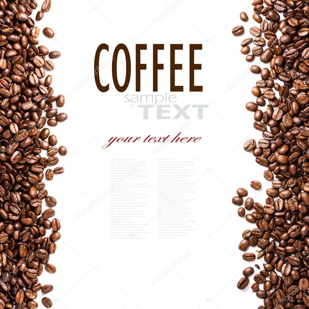 marco de granos de café tostados aislado en blanco — Fotos de Stock ...