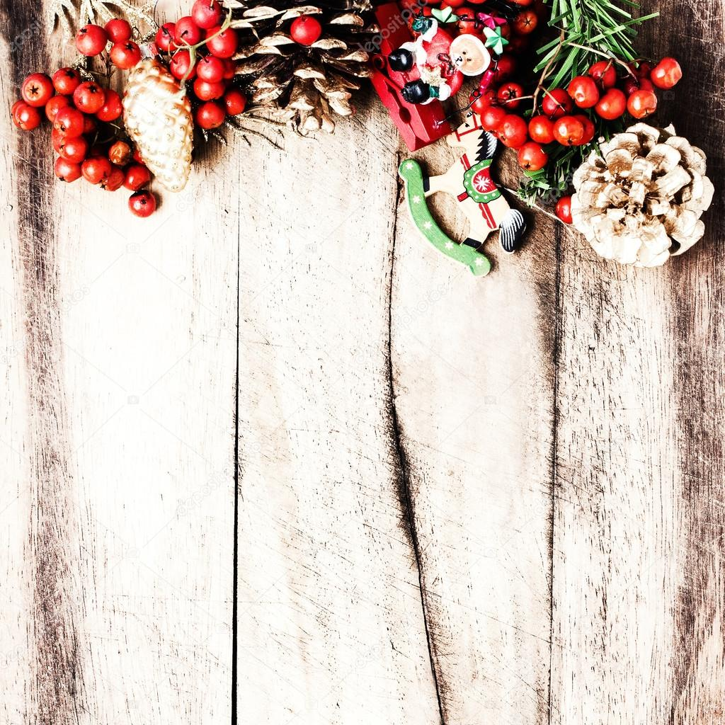 Rustic Christmas decoration on natural wooden board texture
