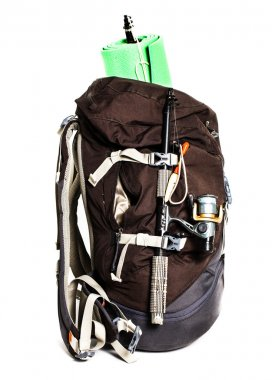 Large touristic backpack with lightweight foam mat