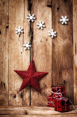 Christmas background with red star and snowflakes