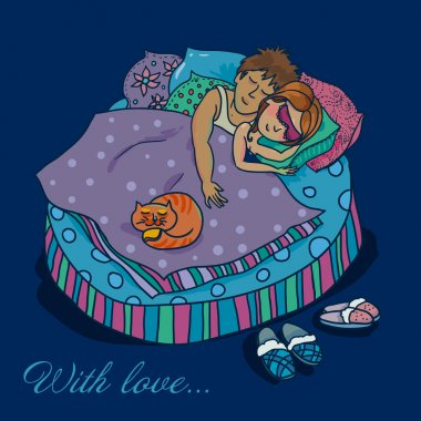 A pair of lovers sleeping illustration in cartoon style