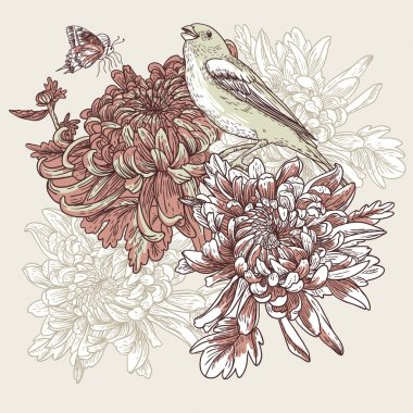 Flowers with bird illustration