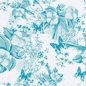 nahtlose Blümchenmuster mit Schmetterlingen und Rosen im Vintage-Stil