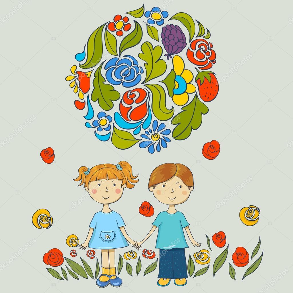 Дети с цветами в руках картинки нарисованные