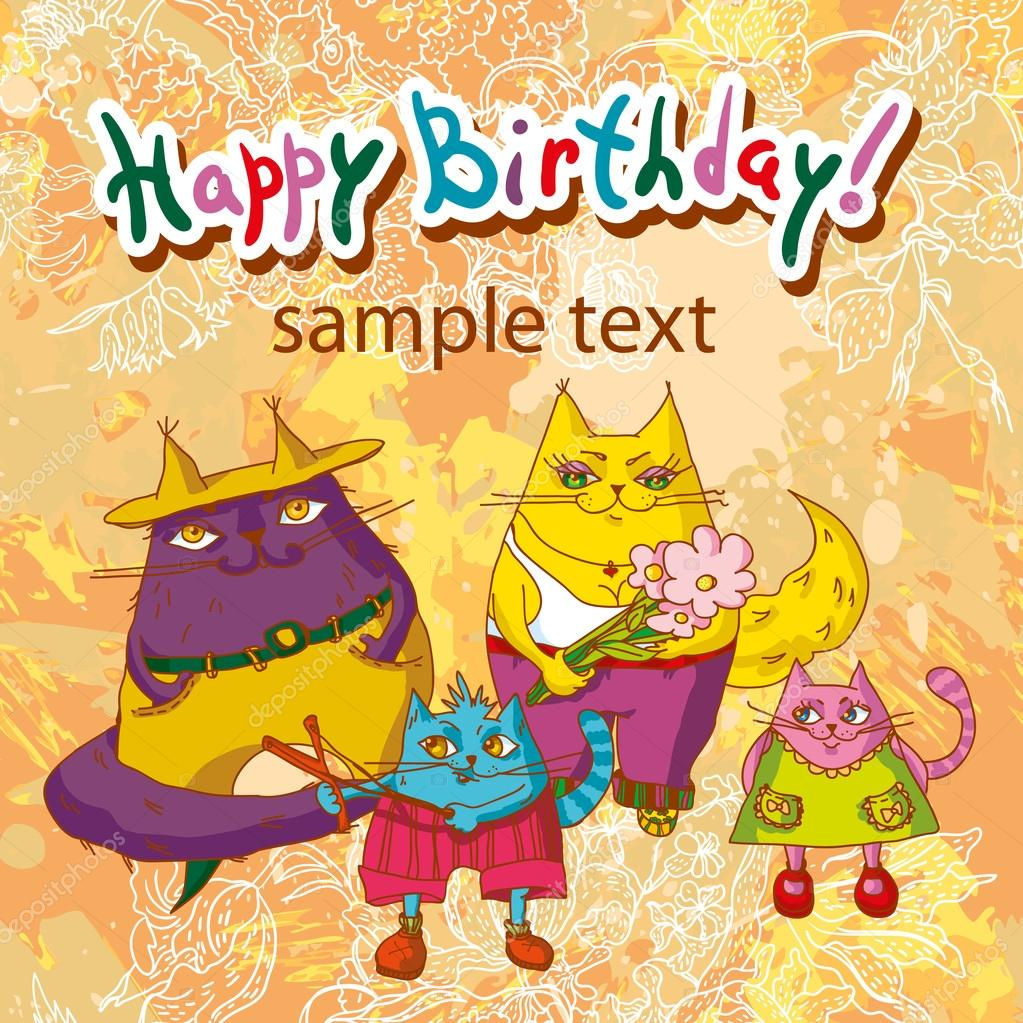 happy birthday funny greeting card with cats u2014 stock vector