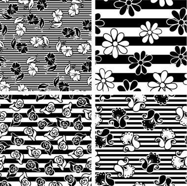 Vector set with monochrome seamless floral patterns Vector backgrounds for textile design