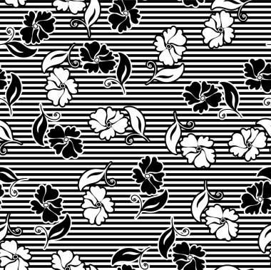 Monochrome seamless floral patterns Vector backgrounds for textile desig