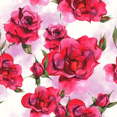 Watercolor Roses seamless background stock vector