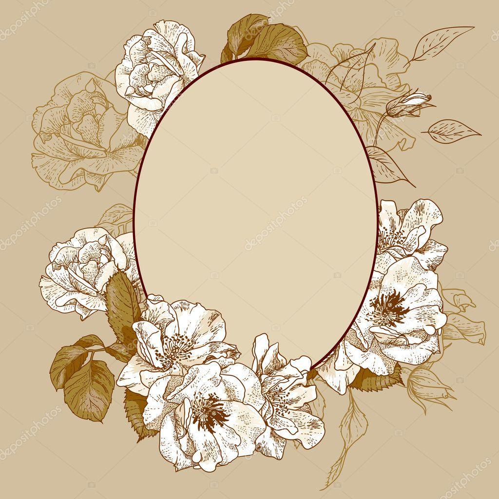 Vintage roses oval frame