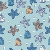 Seamless pattern with flowers and houses Vector vintage background.