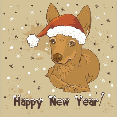 Happy new year! greeting card with a cute dog with Santa hat
