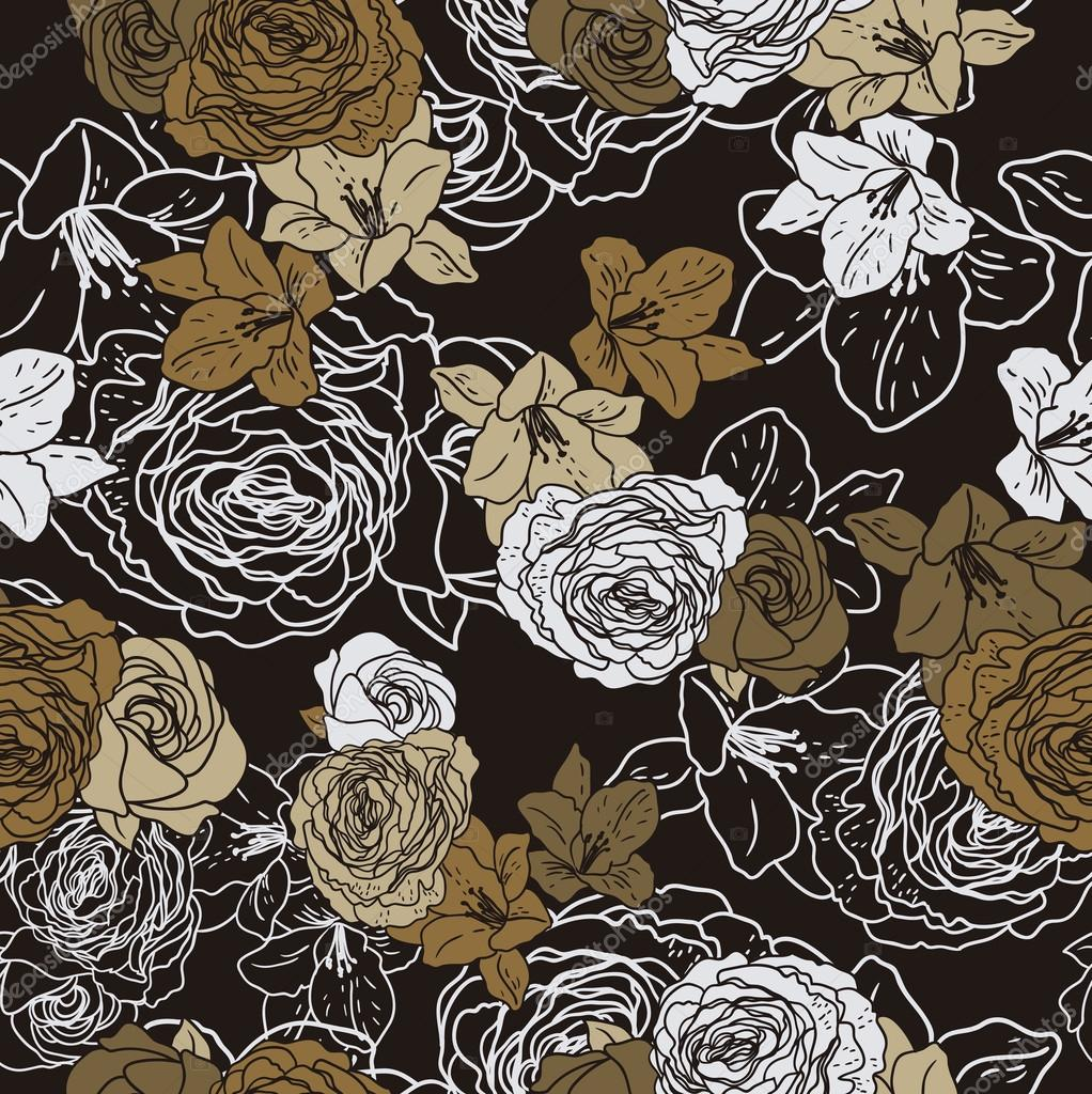 Vector seamless floral pattern with roses floral pattern