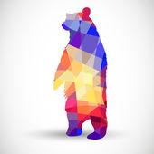 Fotografia sagoma di un orso di forme geometriche