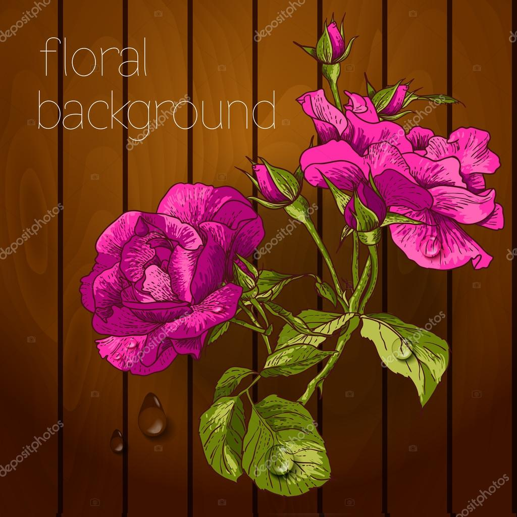 Beautiful flowers on a wooden texture.