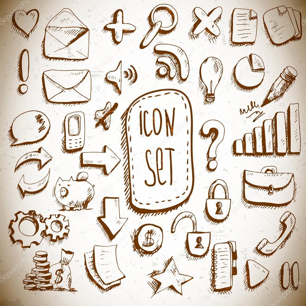 Doodle set of vintage internet icons