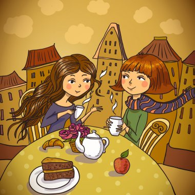 Two young women drinking coffee in cafe clip art vector