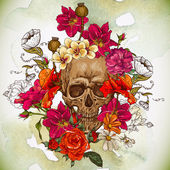 Photo Skull and Flowers Day of The Dead