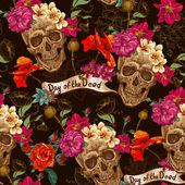 Fotografie Totenkopf und Blumen nahtloser Hintergrund