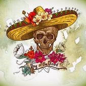 Fotografie Schädel im Sombrero mit Blumen-Tag der Toten