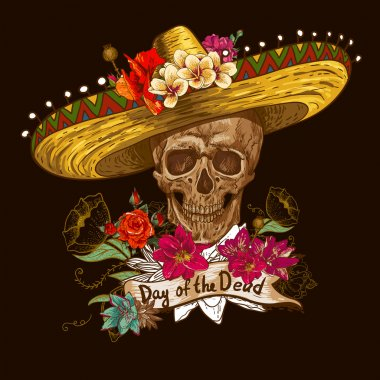 Skull in sombrero with flowers Day of The Dead