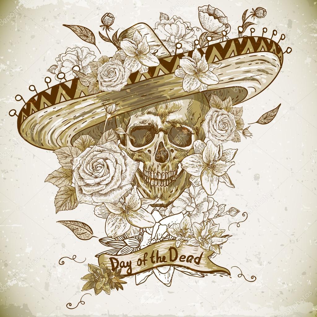 cráneo en sombrero con el día de las flores de los muertos — Vector ...