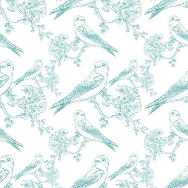 Seamless spring cherry pattern with birds