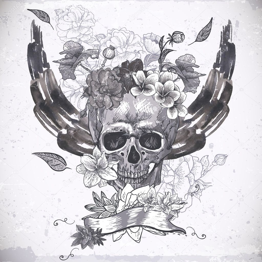 Abstract Background with Skull, Wings and Flowers