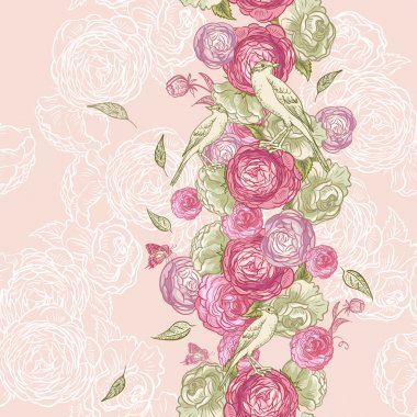 Rose Seamless Background with Birds