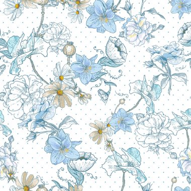 Beautiful Seamless Vintage Floral Background