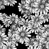 Vintage seamless monochrome pattern with daisies