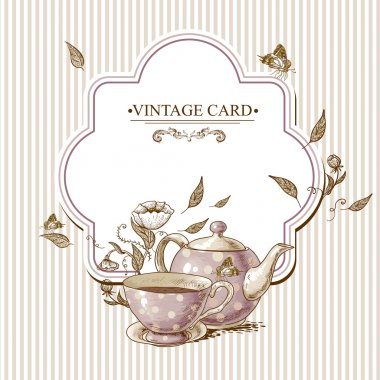 Invitation Vintage Card with a Cup of Tea or Coffee, Pot, Flowers and Butterfly. stock vector