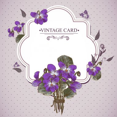 Vintage Floral Card with Violets and Butterflies