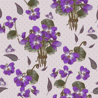 Vintage Seamless Floral Background with Violets