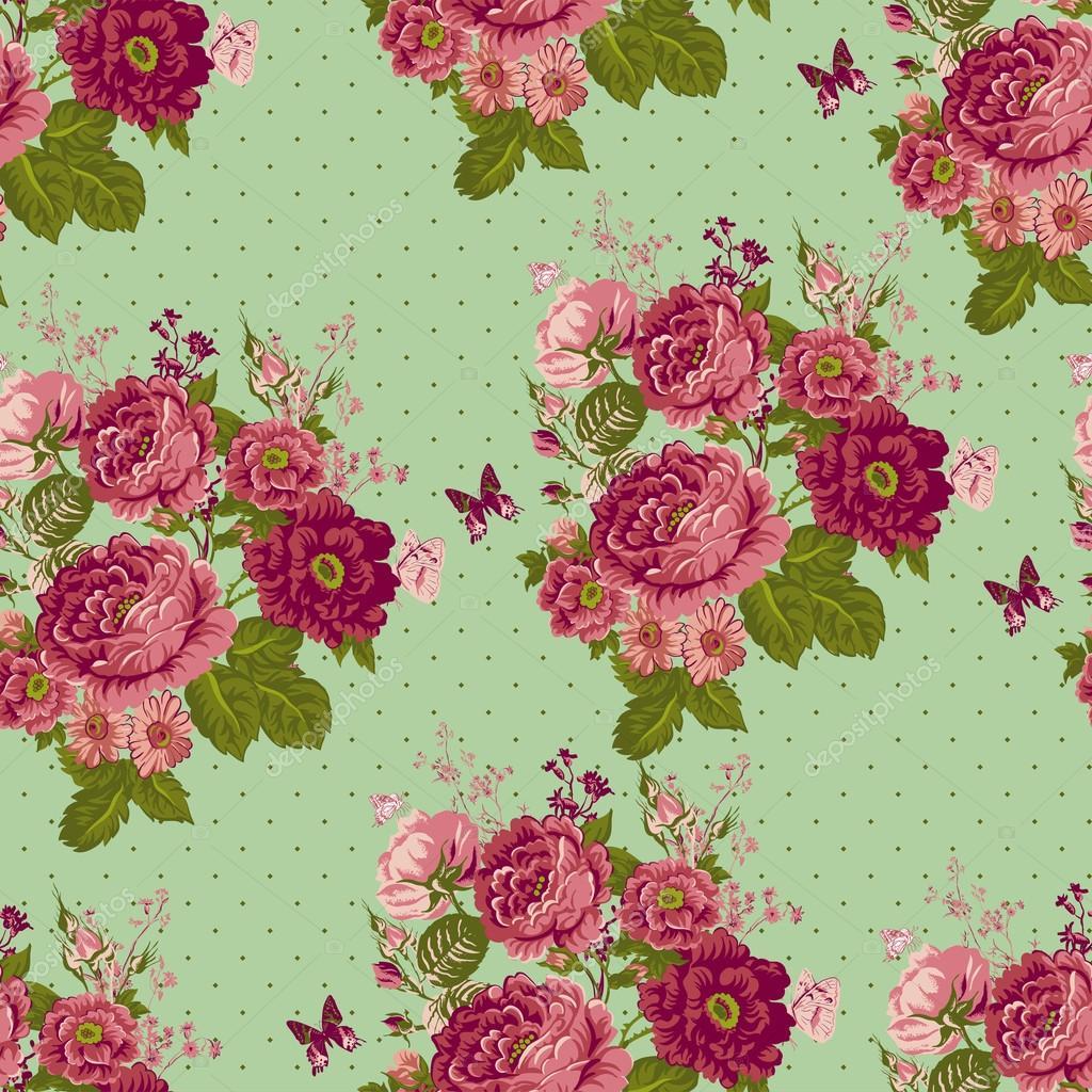 Fondo Vintage Rosas Inconsútil Con Mariposas
