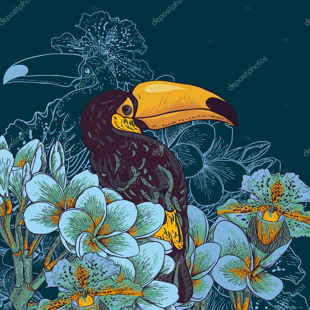 Tropical background with exotic flowers, Toucan