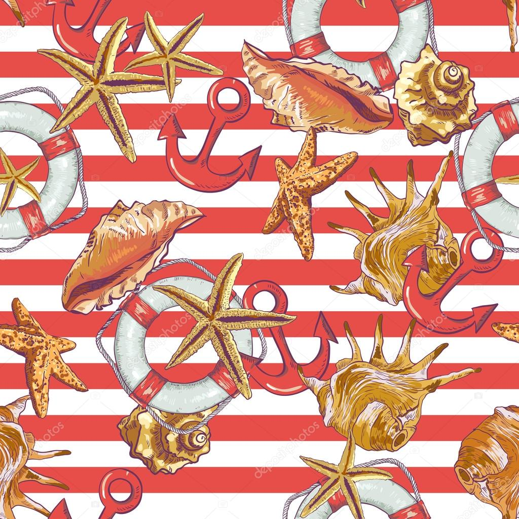 Summer Seamless Pattern with Sea Shells, Anchor