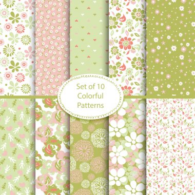 Set of 10 seamless floral and hearts backgrounds clip art vector