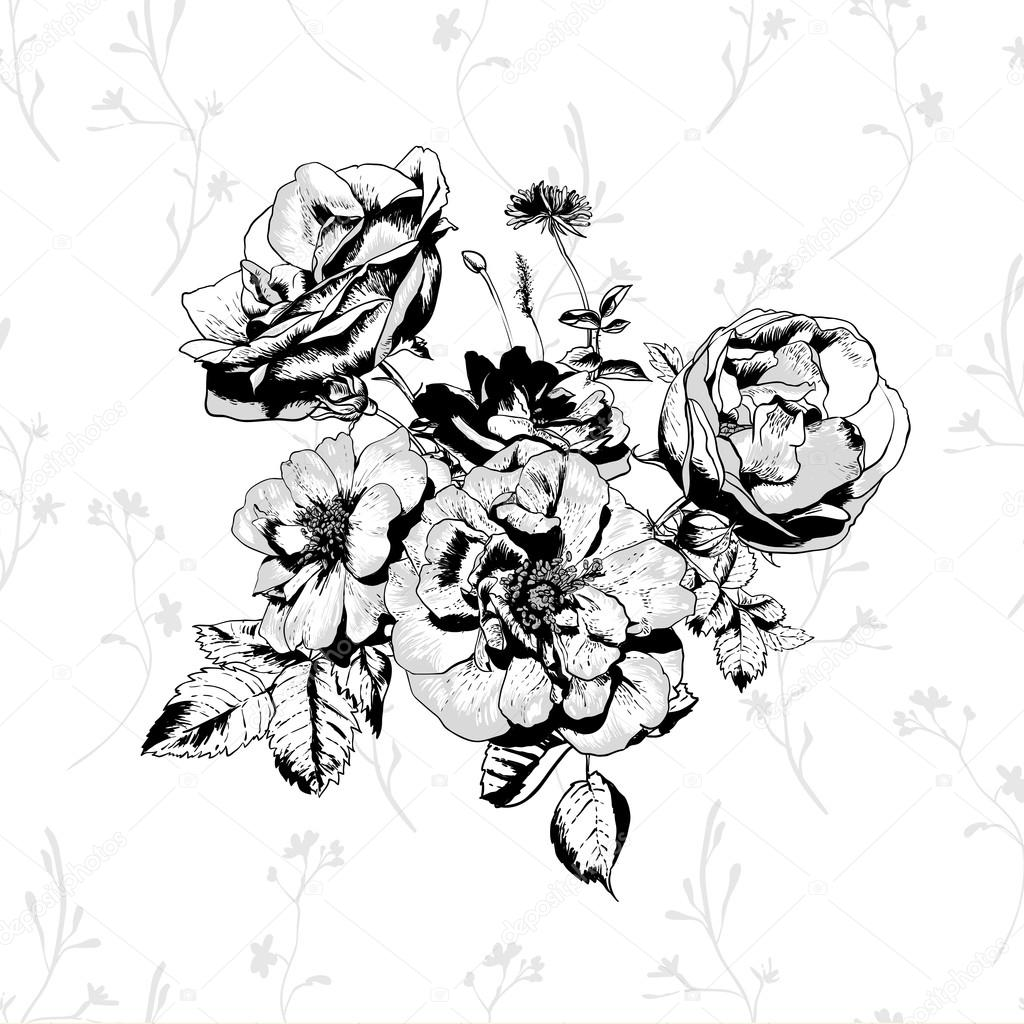 Black and White floral greeting card