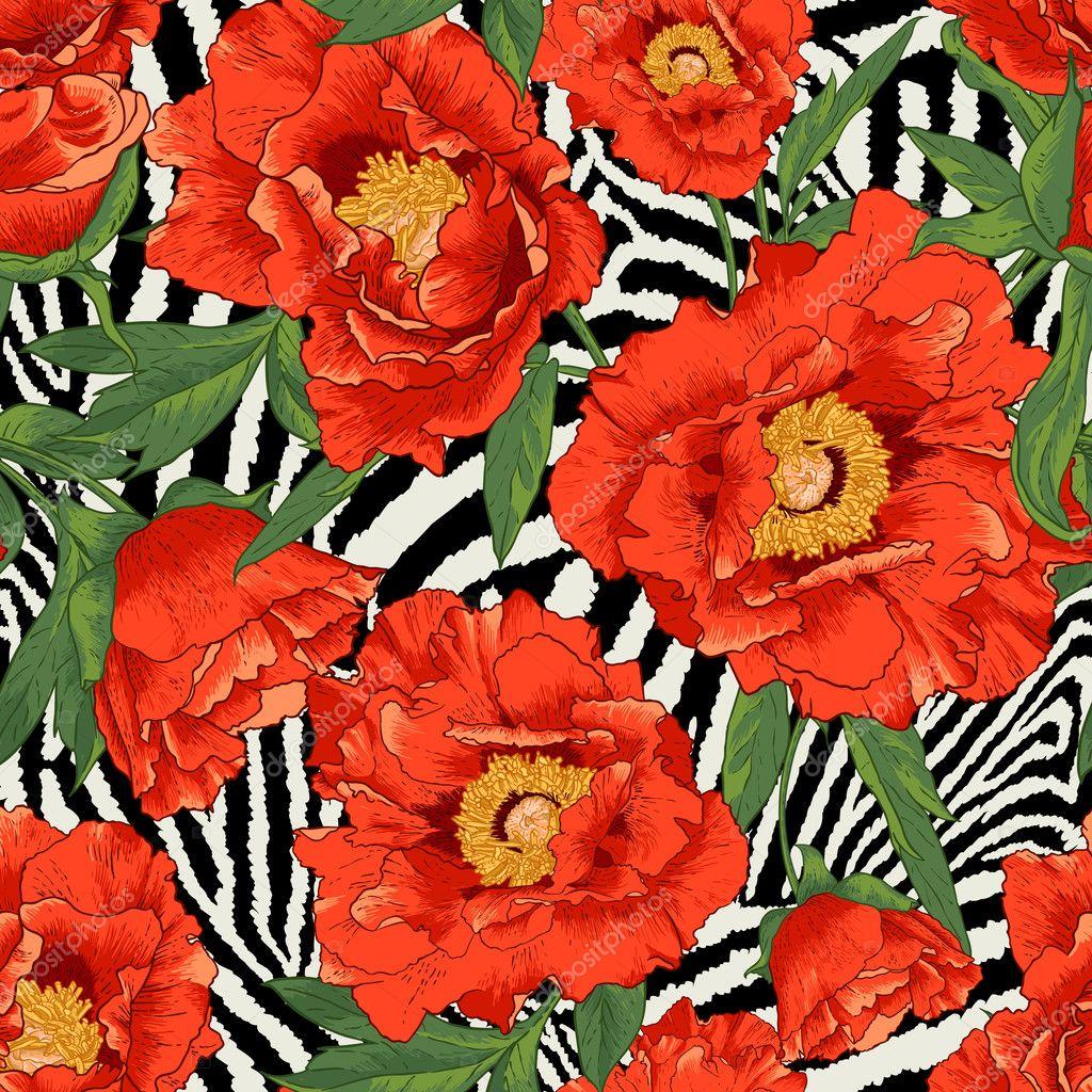Beautiful tropical seamless flower pattern