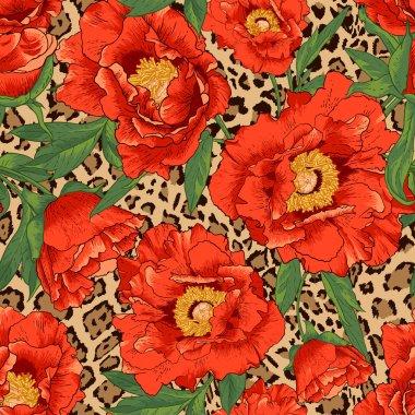 Seamless flower pattern on leopard background